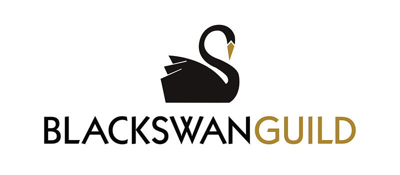 Black swan with a gold beak, and the words 'Black Swan Guild'